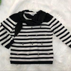 Per se sweater top Black & white beaded sz. S